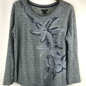 Lucky Brand Womens Top Embroidery Floral Gray L